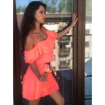 Sukienka hiszpanka w kolorze brzoskwiniowym