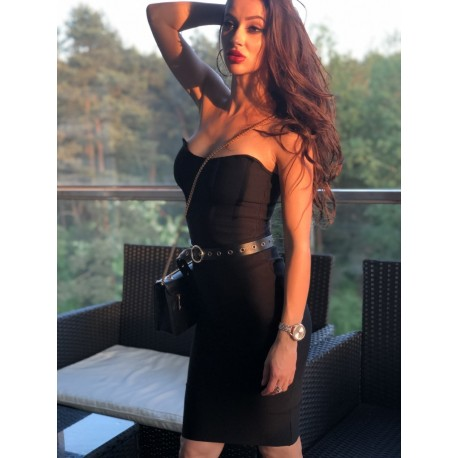 Seksowna czarna bandażowa sukienka