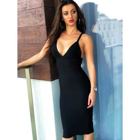 Czarna DOPASOWNA Bandażowa sukienka