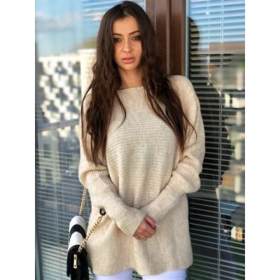 Catalina długi sweter oversize kremowy, ze ściągaczem na rękawach