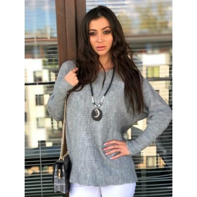 Catalina długi sweter oversize szary, ze ściągaczem na rękawach