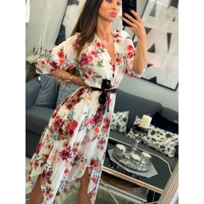 Sukienka szyfonowa biała w kwiaty maxi, długie rękawy Deynn