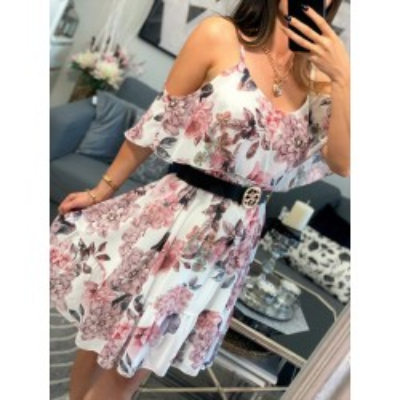 Sukienka hiszpanka w kwiaty z falbanką na ramiona biała Lilu