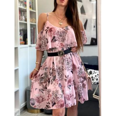 Lilu sukienka hiszpanka w kwiaty z falbanką na ramiona pudrowy róż