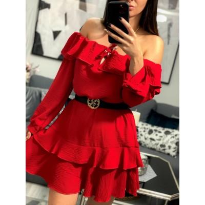 Sukienka hiszpanka z falbankami czerwona na ramiona Selena Gomez