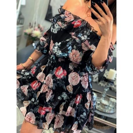 Czarna sukienka hiszpanka z falbankami na ramiona Haia