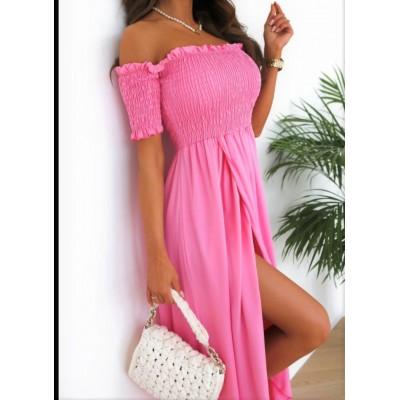 Sukienka maxi hiszpanka z rozcięciem z marszczoną górą Wieniawa różowa