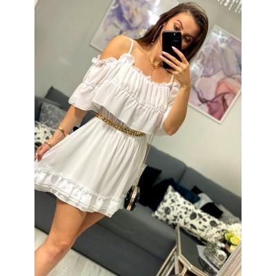 Sukienka hiszpanka rozkloszowana szyfonowa z falbankami biała Lu Lu