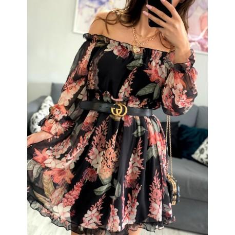 Sukienka hiszpanka szyfonowa w kwiaty z falbankami midi Vinted