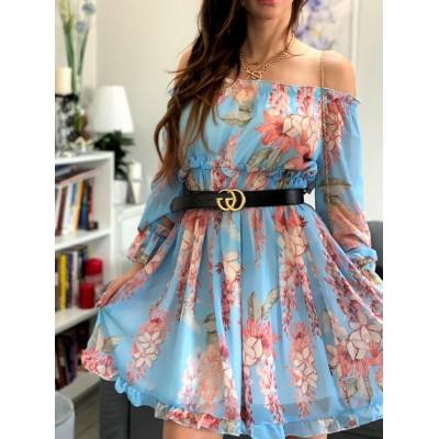 Sukienka hiszpanka szyfonowa w kwiaty midi Vinted błękitna