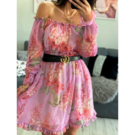 Sukienka hiszpanka szyfonowa w kwiaty midi Vinted fioletowa
