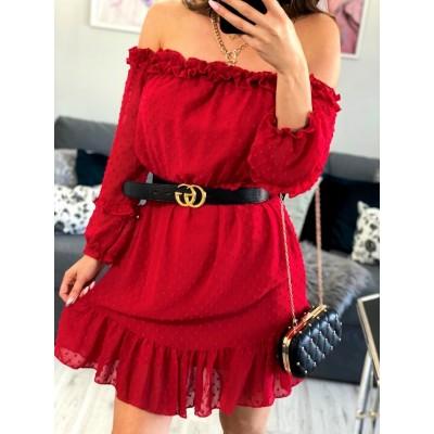 Kasia czerwona sukienka hiszpanka z falbankami na ramiona