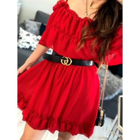 Sukienka hiszpanka rozkloszowana szyfonowa z falbankami czerwona Lu Lu