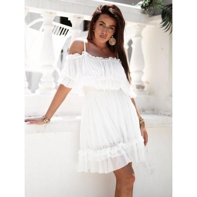 Sukienka hiszpanka rozkloszowana szyfonowa z falbaną biała Celebrytka