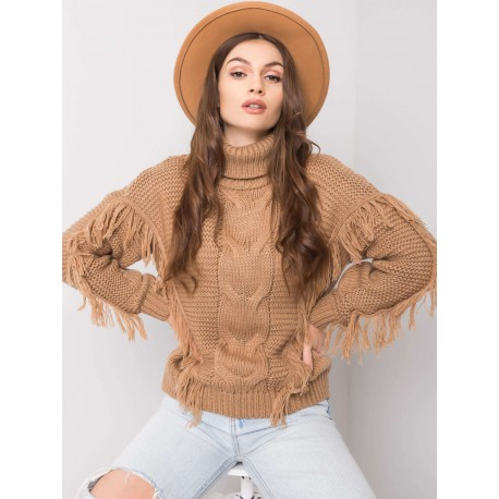 Sweter damski karmelowy z frędzlami Wizaż