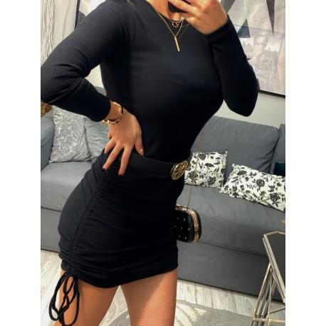 Czarna dopasowana sukienka mini, ze ściągaczem i długim rękawem lossal