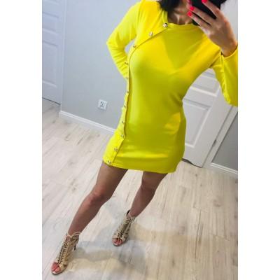 Żółta Sukienka ze zdobieniami