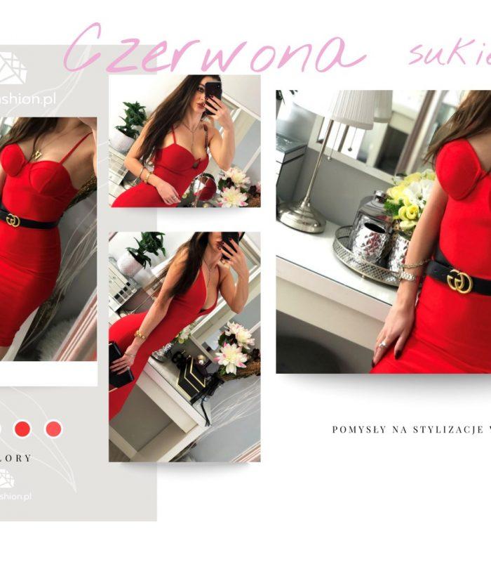 czerwona bandażowa sukienka (Duży)