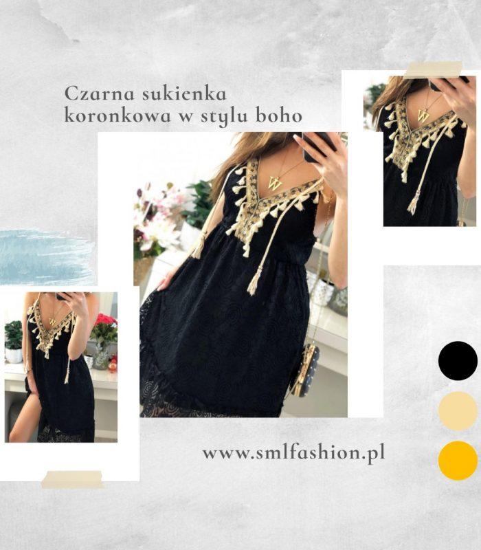 Czarna koronkowa sukienka boho