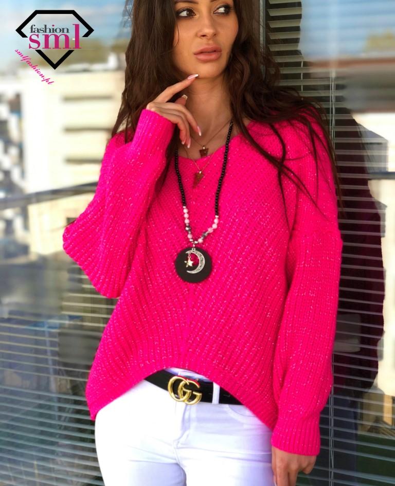 fuksjowy sweter damski ze świecąca nitką krótki