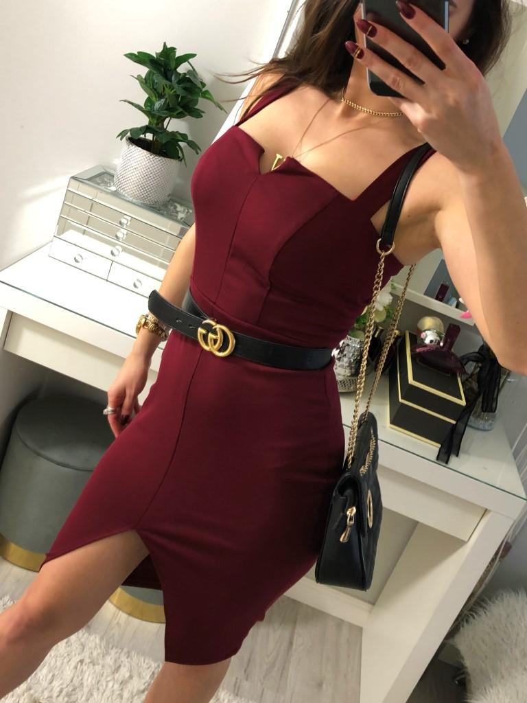 bordowe sukienki 2021 moda