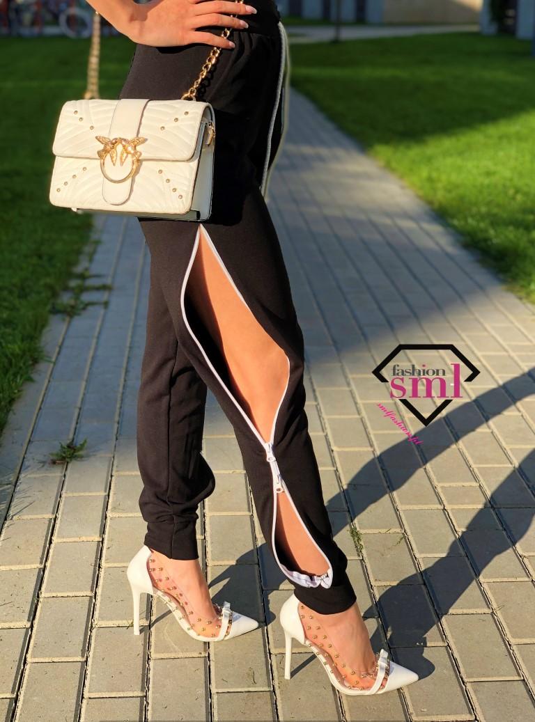 czarne spodnie materiałowe z zamkami na nogawkach