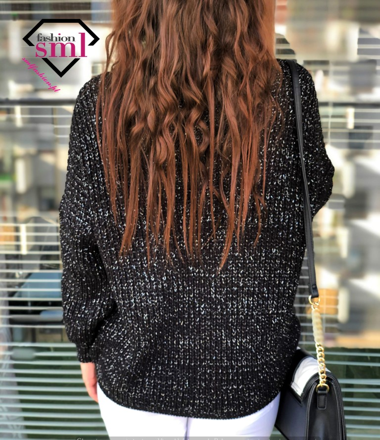 czarny, elegancki sweter