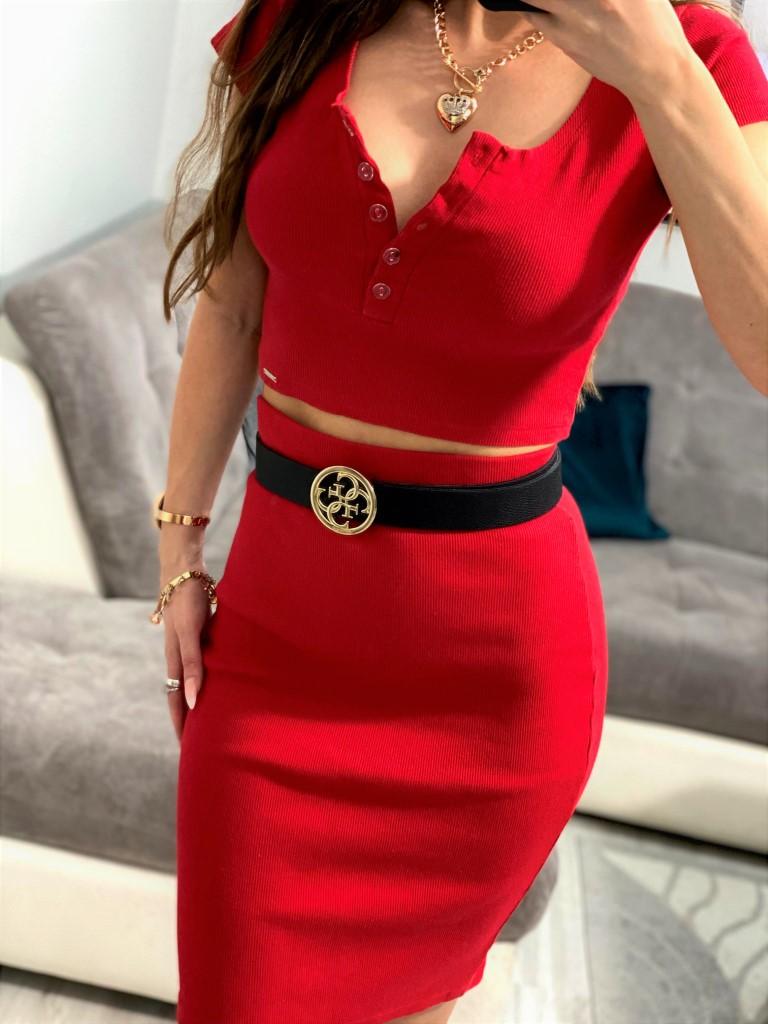 czerwone komplety damskie spódnica i top