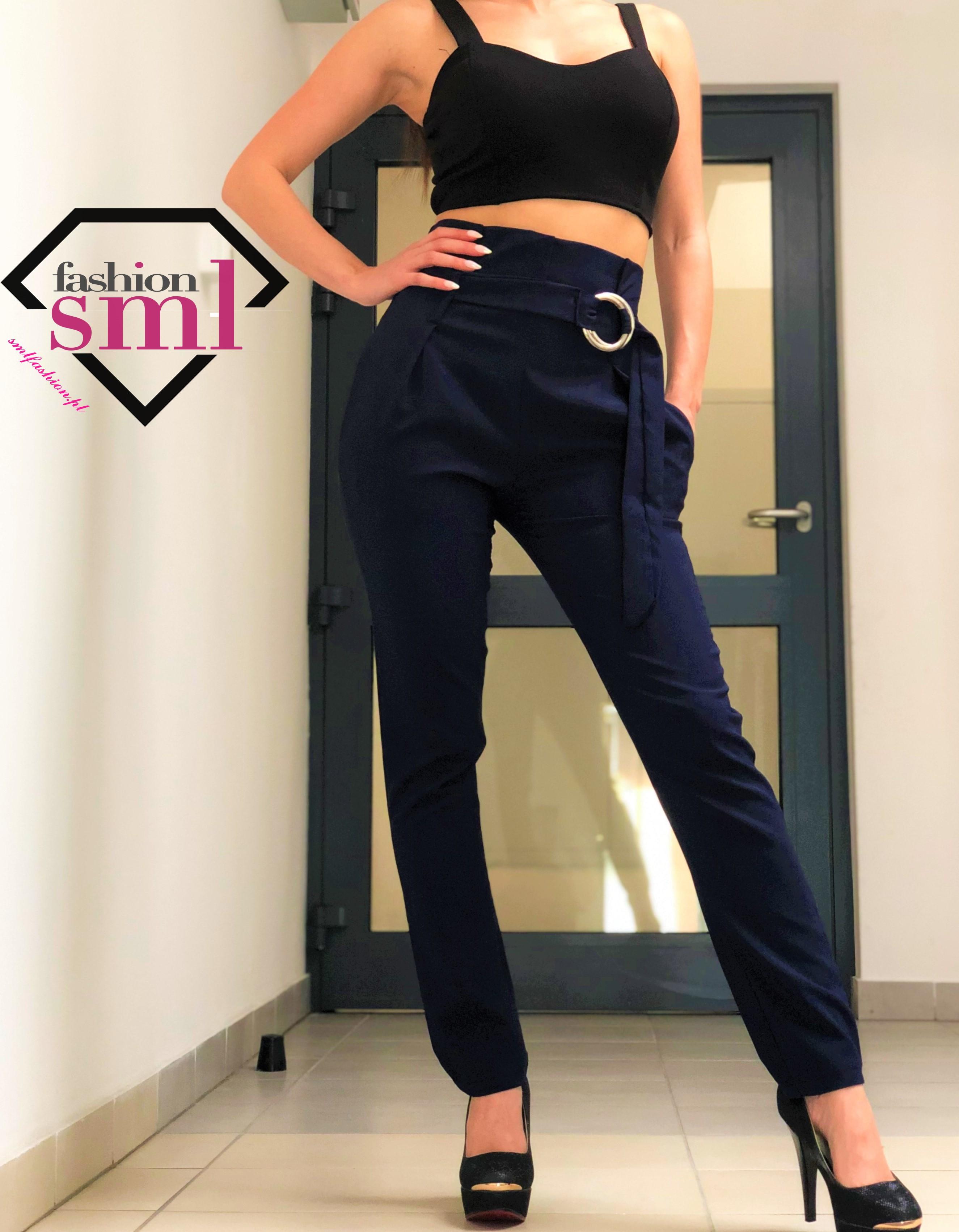 spodnie granatowe modne z wysokim stanem, zwężane nogawki