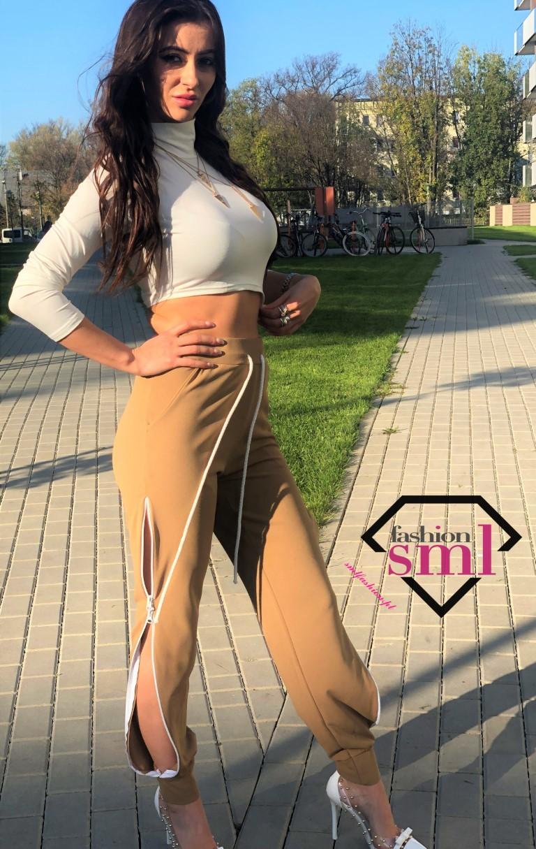 dresowe spodnie karmelowe z wysokim stanem