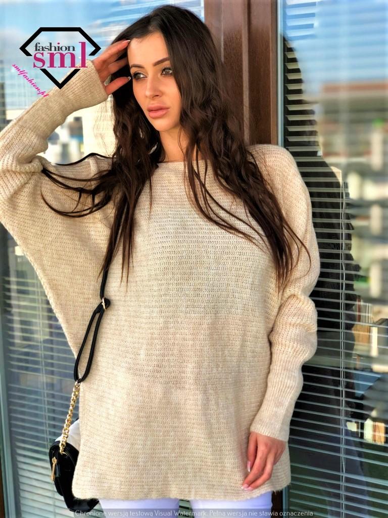 kremowy sweter długi, miękki, ciepły