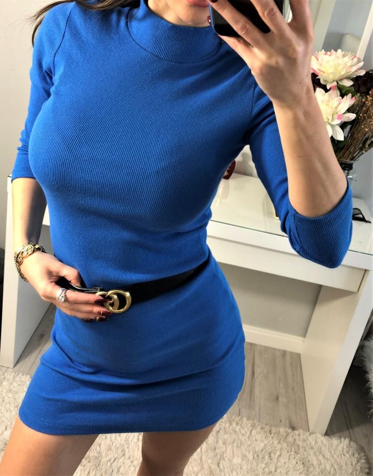 niebieska sukienka mini bawełniana z golfikiem