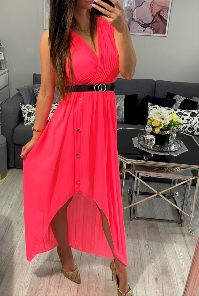 sukienka maxi różowa