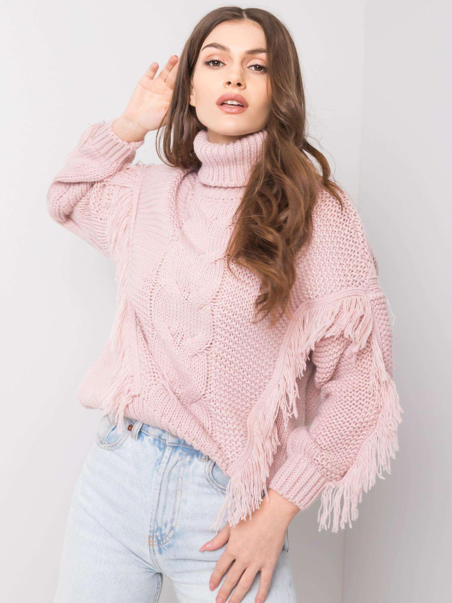 sweter damski pudrowy róż
