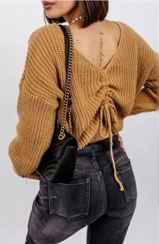 dwustronny sweter ze ściągaczem przy dekolcie